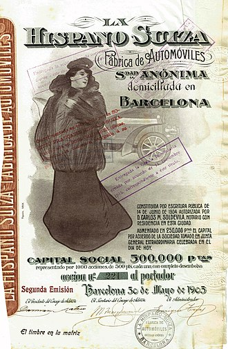 Marc Birkigt - Share of the Hispano Suiza Fabrica de Automoviles SA, issued 30. May 1905