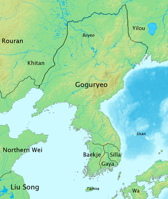The name Korea is derived from Goguryeo, also known as Koryo, one of the Three Kingdoms of Korea History of Korea-476.PNG
