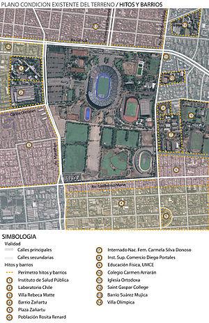 Hitos y barrios cercanos al Estadio Nacional de Chile