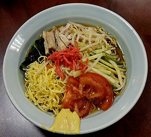 Hiyashi ramen served in a ramen joint in Paris...