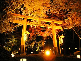 Traditional lighting equipment of Japan - The Momiji Matsuri もみじ祭 festival at Hiyoshi Taisha shrine