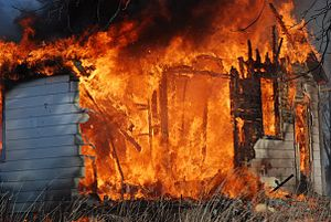 Detection of fire accelerants - Image: House fire using gasoline