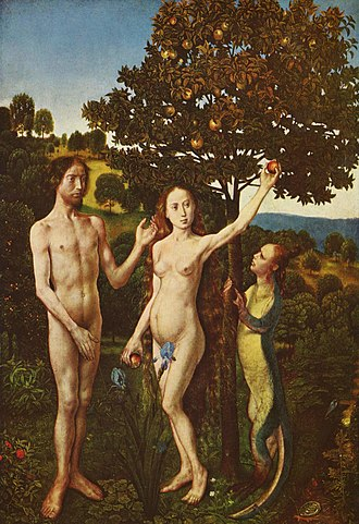 Female body shape - Adam and Eve from the Vienna Diptych by Hugo van der Goes. Eve's protruding abdomen is typical of nudes in the 15th century.
