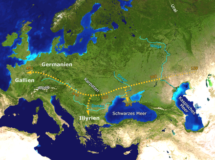 A suggested path of the Huns' movement westwards (labels in German) Hunnenwanderung.png