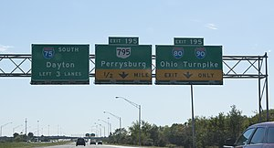 Interstate 75 in Ohio - Image: I75 I80 I90 Interchange