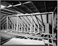INTERIOR, ROOF RAFTERS FACING EAST - Merit-Tandy Farmstead, RR 1,Box 225, Patriot, Switzerland County, IN HABS IND,78-PAT.V,1-12.tif