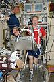 ISS-20 Frank De Winne exercises on the TVIS in the Zvezda Service Module.jpg