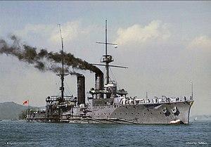 Tsukuba-class cruiser - Colorized photo of Ikoma at anchor at Kure, 1908