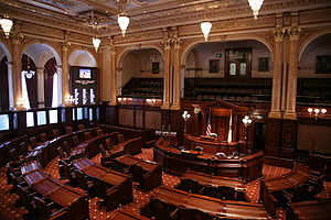 Government of Illinois - The State Senate Chamber of the Illinois State Capitol in Springfield