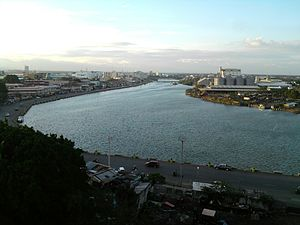 Iloilo River - Aerial view of Iloilo River looking towards the Iloilo Provincial Capitol from Muelle Loney