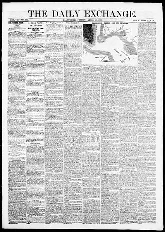 The Daily Exchange - The front page of The Daily Exchange, April 12, 1861.