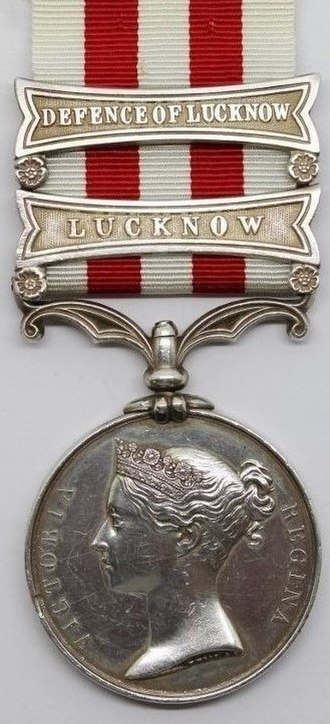 Indian Mutiny Medal - Image: Indian Mutiny Medal, with clasps 'Defence of Lucknow' and 'Lucknow' (Obverse)