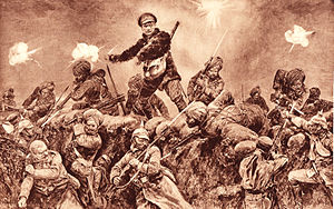 "Neuve-Chapelle Indian Memorial - Sikh soldiers charging German positions at Neuve Chapelle, 1915. (Official British Military painting. First published in ""The Great War"" Ed. H.W. Wilson, 1916)"
