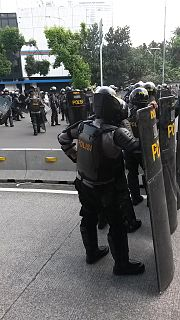 Riot police police who are organized, deployed, trained or equipped to confront crowds, protests or riots