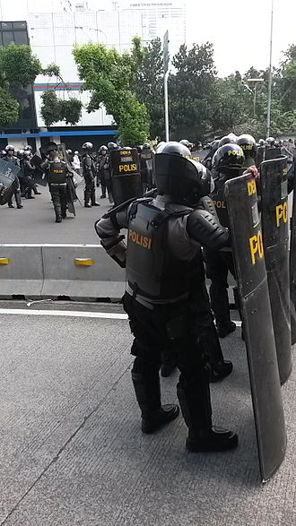 Riot police - Indonesian riot police from the Mobile Brigade Corps