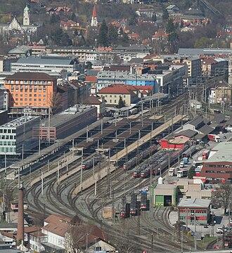 Innsbruck Hauptbahnhof - Overview from Bergisel.