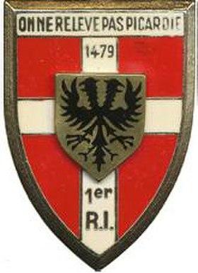 Insigne regimentaire du 1errégiment d'infanterie
