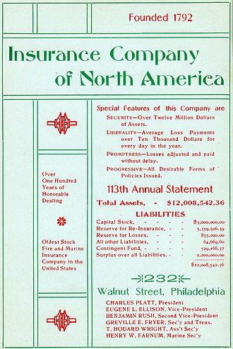 Insurance Company of North America - Insurance Co. of North America advertisement, 1905