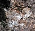 Intergranular calcite in autobrecciated amygdaloidal tholeiite basalt aa lava flow top (flow B, Two Harbors Basalts, North Shore Volcanic Series, Mesoproterozoic, 1097-1098 Ma; Burlington Bay, Two Harbors, Minnesota, USA) 5.jpg
