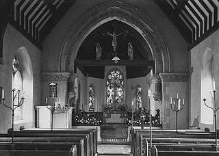 Interior of St. Mary's church at Abbeycwmhir