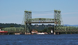 Interstate Bridge - A barge passing under the raised lift spans