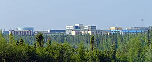 Inuvik - Buildings of central Inuvik from south of town