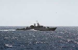Islamic Republic of Iran Navy - An Alvand-class frigate at sea.