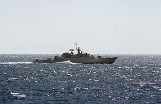 Islamic Republic of Iran Navy - An Alvand-class frigate at sea.