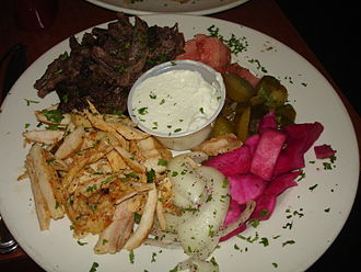 Shawarma - Mixed shawarma platter with vegetables and pickles