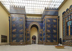 Puerta de Ishtar de Babilonia en el museo Pergamon en Berlin.