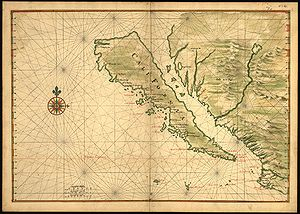 "History of Hispanic and Latino Americans in the United States - California is shown as an island on this 1650 map. The smaller islands located in the ""channel"" were mentioned in an early myth and subsequently included by mapmakers over the centuries who took it on faith that region had actually been explored."