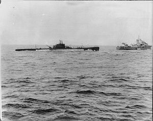 Indian Ocean in World War II - ''Galileo Galilei'' was one of eight Italian submarines operating out of Massawa, and is shown here being captured by the Royal Navy.