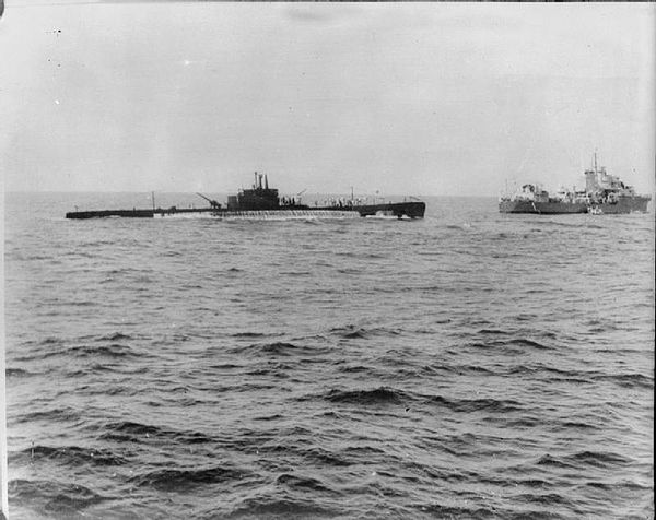 Galileo Galilei was one of eight Italian submarines operating out of Massawa, and is shown here being captured by the Royal Navy. Italian Submarine Galileo Galilei.jpg