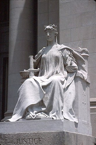 Social policy - Lady Justice depicts justice as equipped with three symbols: a sword symbolizing the court's coercive power; a human scale weighing competing claims in each hand; and a blindfold indicating impartiality.