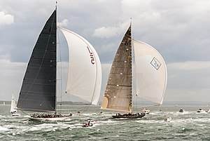 J-class yacht - J-class yachts Ranger and Velsheda under sail.