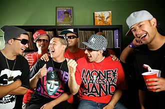 Jabbawockeez - Members of the Jabbawockeez with DJ collective The Bangerz. Photo by Mark J. Sebastian.