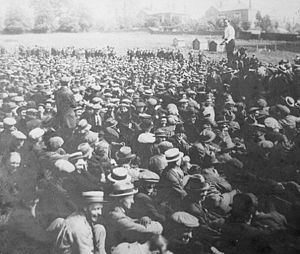 Amalgamated Engineering Union - Jack Leckie, a Scottish trade union activist and communist, addressing a rally at Radford Road, Coventry, during the 1922 Engineers' Lockout.