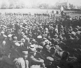 Jack Leckie - Jack Leckie addressing a rally of engineers at Radford Road, Coventry, during the 1922 Engineers' Lockout.