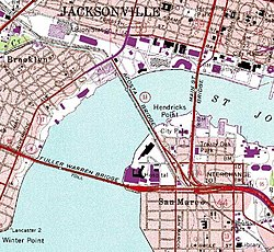 Map of Downtown Jacksonville showing three of the five auto bridges that cross the St. Johns downtown; in total, seven bridges cross the St. Johns within the city of Jacksonville