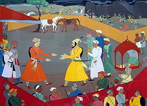 Raja - Jai Singh I of Amber receiving Shivaji a day before concluding the Treaty of Purandar (12 June 1665)