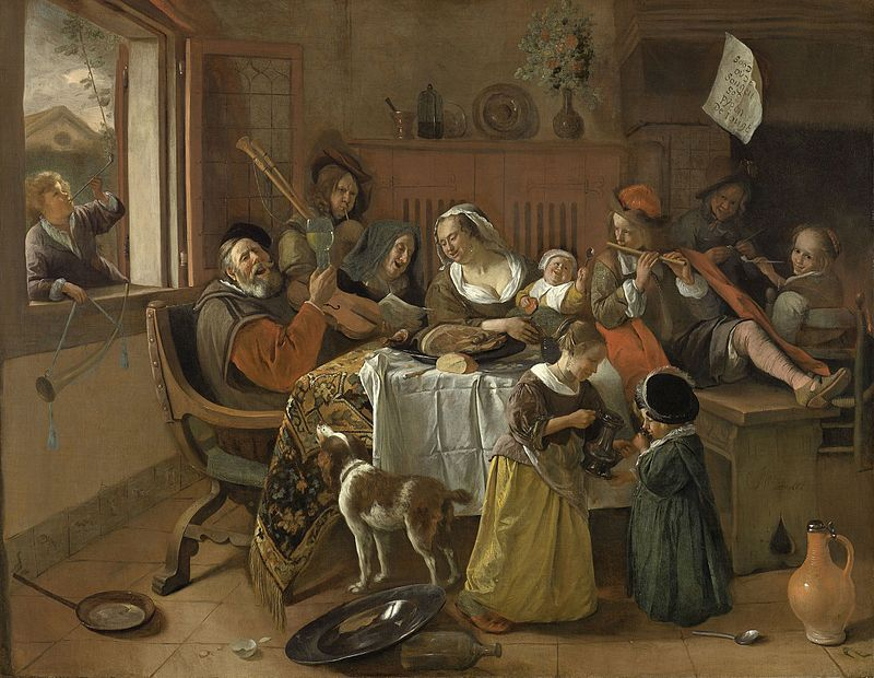 Jan Steen, The Merry Family, 1668, Rijksmuseum, Amsterdam, Netherlands.