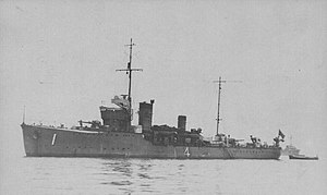 Battle off Endau - The minesweeper W-4 at anchor, July 1930