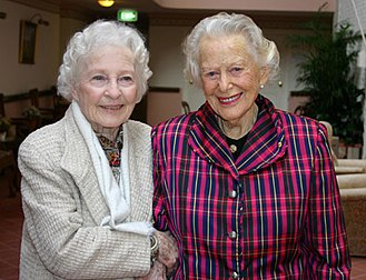 Nancy Bird Walton (right) with another pioneering Australian aviator, Jean Burns (2006). Jean Burns & Nancy Bird Walton.jpg