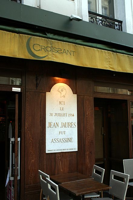 The memorial to his assassination still exists. Jean Jaures Cafe Croissant.jpg
