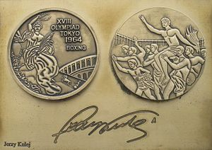 Jerzy Kulej - Image: Jerzy Kulej medal & autograph