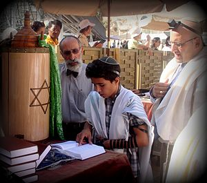 Bar and Bat Mitzvah - Bar mitzvah boy wearing tallit and tefillin