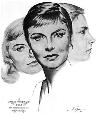 Joanne Woodward - Drawing of Woodward upon winning an Oscar for The Three Faces of Eve in 1957 by artist Nicholas Volpe