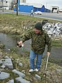Joe Tiernan cleans up Blacks Run Creek Our Community Place Harrisonburg VA March 2008.jpg