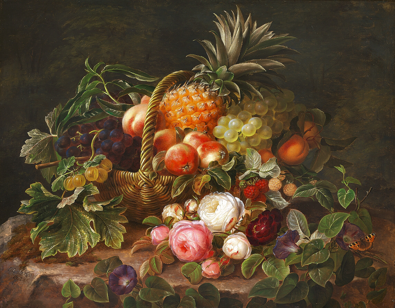 Johan Laurentz Jensen - Opstilling med ananas, druer og stikkelsbær i en kurv på en træstub, hvorpå lyserøde roser - 1842.png