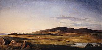 Odsherred Painters - Johan Thomas Lundbye: Zealand Landscape. View from Bjerresø Mark towards Vejrhøj and Dragsholm Manor (1840)